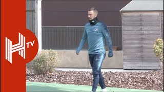Eden Hazard all smiles as Chelsea train ahead of UEL quarter-final
