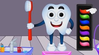 Learn Colors with Teeth Brush For Children, Teach Colours, Baby Kids Learning Videos