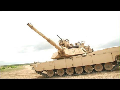 US Air Force - M1A2 SEP V2 & Leopard 2A5 DK MBTs Live Firing At Exercise Saber Strike 2015 [720p]