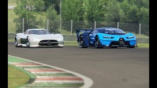 Battle Mercedes-Benz Vision GT vs Bugatti Vision GT at Mugello