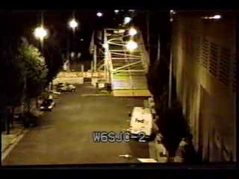 Nightshot of Balbach on ATV for SJ Grand Prix W6SJC