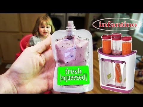 INFANTINO SQUEEZE STATION REVIEW. How to make your own SQUEEZE POUCHES. The REAL LIFE REVIEW!!!