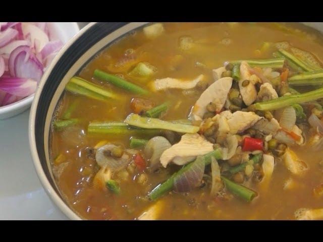 Ginisang Munggo Manok recipe - Chicken Pinoy Filipno Tagalog cooking