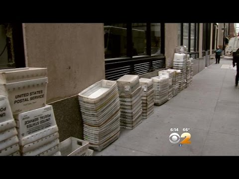 Piles Of Mail Bins Are Stacked And Scattered Around The Financial District