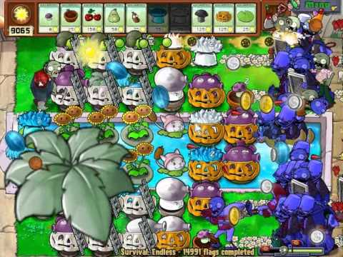 Plants vs zombies 14,990 - 14,992 flags  Survival endless Cobless Setup