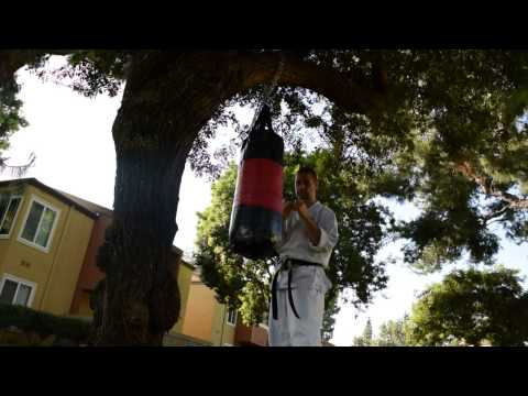 Shorin Ryu Karate techniques training with medium weight bag Image 1