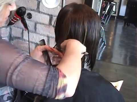 LAYERED ANGLED BOB HAIR CUT PART 2