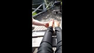 Dogs licking girl feet 2