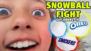 SNOW BALL FIGHT! (Try to hit Dad) + Deep Fried Oreos and Snickers! (Gatlinburg, TN Family Vlog)
