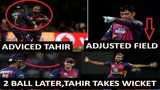 [IPL 10] Ms Dhoni Adviced To Imran Tahir & Tahir Takes Wicket In RPSvsRCB Match_D-Cricket