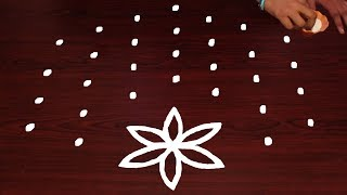 Flower Leaf Rangoli Designs With 7X4 Dots Well Rangoli & Muggulu Collections By Dots