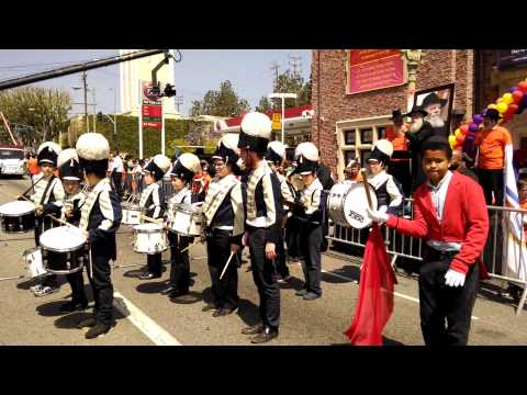 Cheder Menachem Marching Band & Flag Procession at The Great Lag B'Omer Parade 5774