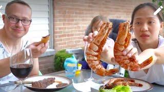 Vlog 679 ll Nướng Tôm Nữ Hoàng, Thịt Bò, Ba Chỉ Hàn Quốc Ngoài Trời
