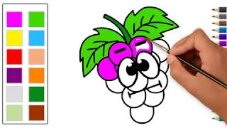 How to Draw a Grape Funny Drawing and Coloring With Color for kids with Songs