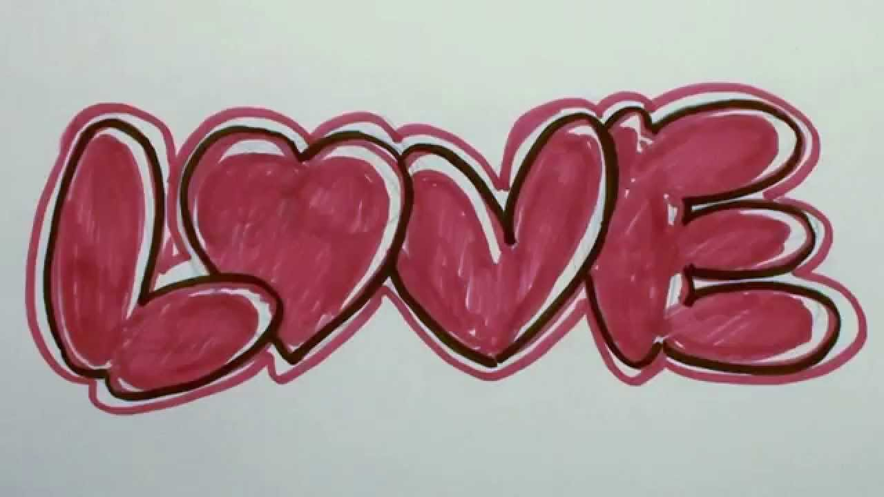 How to Draw Graffiti Letters - LOVE in Bubble Letters ...