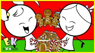 Emma & Kate Christmas Building Gingerbread Houses Decorating - EK Doodles Funny Animation
