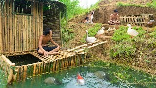 Build The Most Amazing Swimming Pool With Bamboo House For Ducks And Fish Pool