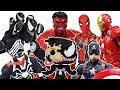 Venom vs Avengers Battle, Go~! Spider Man, Hulk, Iron Man, Captain America, Thor Toys play