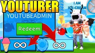 4 OWNER YOUTUBER CODES IN ICE CREAM SIMULATOR! *INFINITE SCOOPS* (Roblox)