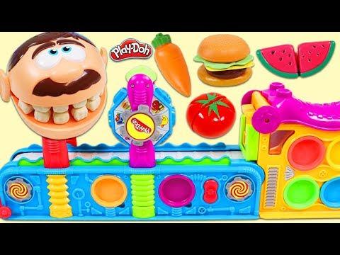 Feeding Mr. Play Doh Head Toy Velcro Food Made From Magic Mega Fun Factory!