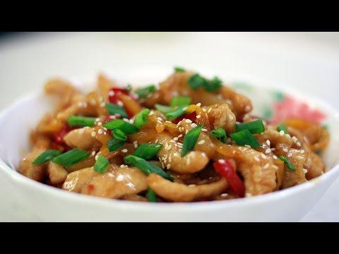 Азиатский стирфрай из курицы в кисло-сладком соусе