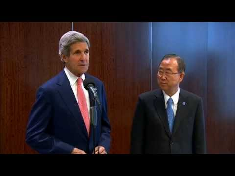 Secretary Kerry Delivers Remarks With UN Secretary General Ki-moon
