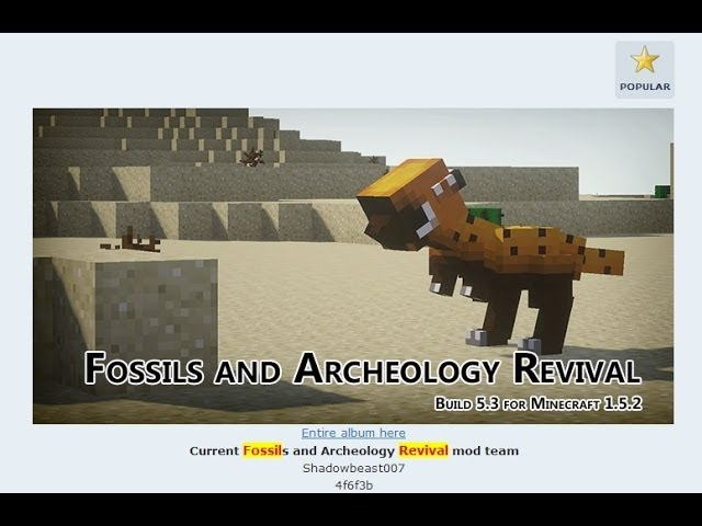 How To Install the Fossils/Archeology mod (Dinosaur Mod) for Minecraft 1.5.2