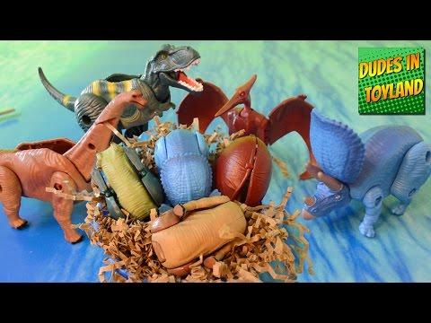 Dinosaur eggs toys for kids - Bandai Hatch n Heroes dino egg transformers hatching videos