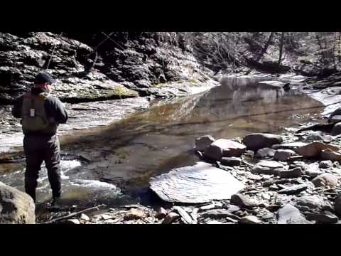 2013 Holy Saturday Steelhead fly fishing tiny lake erie trib