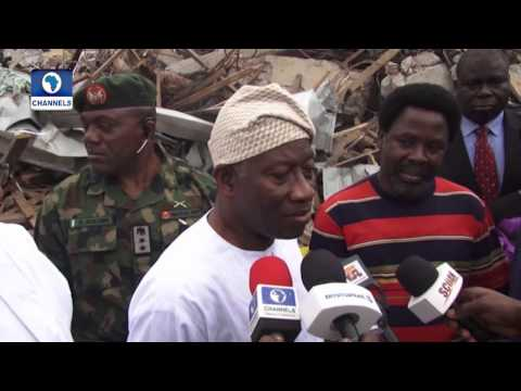 President Jonathan Visits Collapsed Building Site In Synagogue