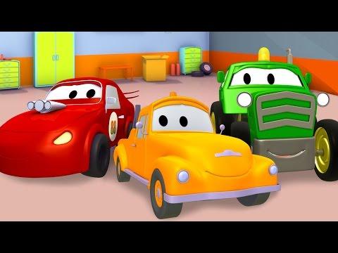 Samochód Wyścigowy, Taxi, Dźwignicai Tom Holownik, Samochody Bajka O Maszynach Dla Dzieci