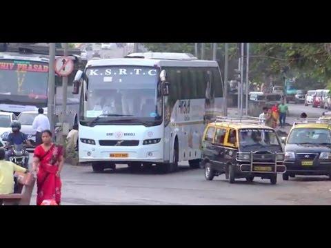 Very Appealing Multi Axle Volvo Bus  of KSRTC cruising through Mumbai Traffic !!!