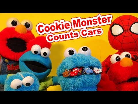 Cookie Monster Count n'Crunch Counting Cars from Pixar Cars Micro Drifters Lightning McQueen,