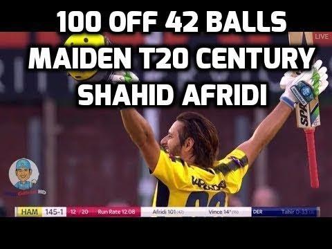 Shahid Afridi 100 Runs Off 42 Balls In Natwest T20 Blast 2017 vs Derbyshire - 23 August