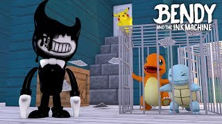 Minecraft BENDY AND THE INK MACHINE!! - CHARMANDER & SQUIRTLE ARE TRAPPED IN BENDY'S INK FACTORY!!!!
