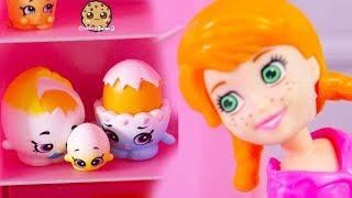 Yolk Broke ! Shopkins Egg Family + Polly Pocket Pretend Play Video