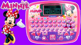Disney Junior Minnie Mouse Computer Tablet Toy Review Unboxing, Teach Kids, Clementoni