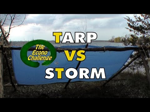 Cheap Tarp vs Thunderstorm - Bushcraft Practice