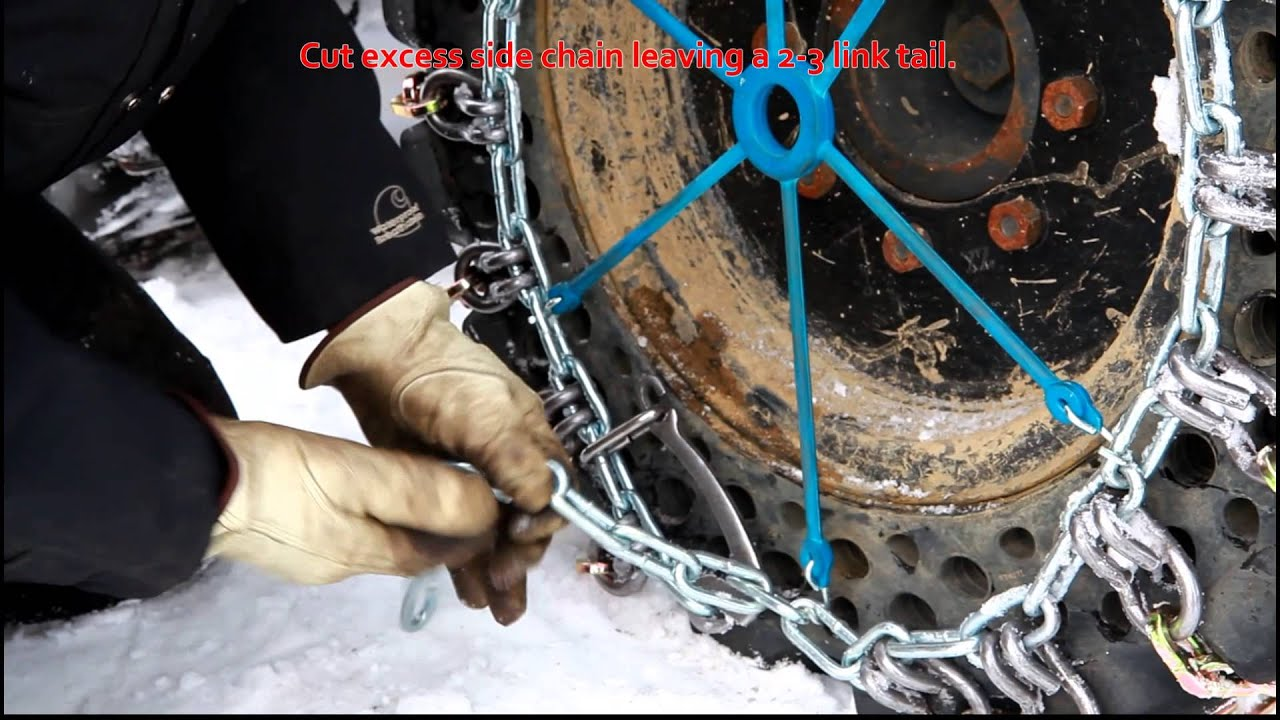 qccskid steer square link alloy tire chain installation