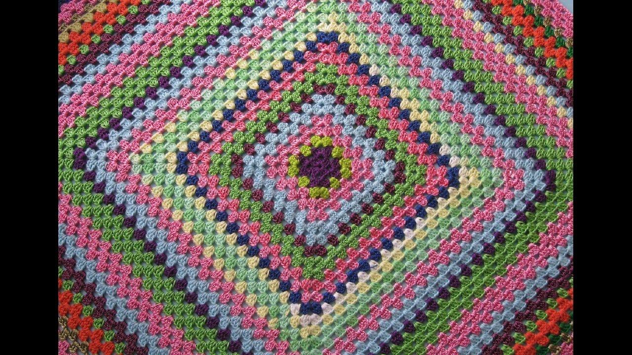 Вязание крючком из остатков пряжи коврик 32