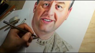 How to draw a portrait of the man by colored pencils (Time-lapse drawing video)