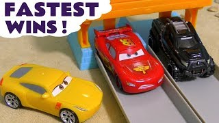 Cars Lightning McQueen races Hot Wheels Superhero Cars and the funny Funlings TT4U