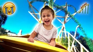 ELLE CRIES ON HER FIRST ROLLER COASTER RIDE!!! **SHE FREAKED OUT**