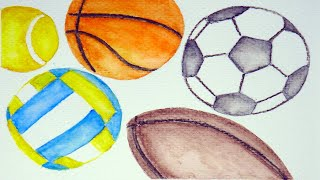 Sports Balls Watercolor Art for Kids | Playful Upbeat Bouncy Music for Toddlers