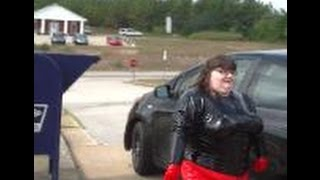 14 038-  BBW FetishKimmy Latex Pants and Top in Public- Post Office Drop Off