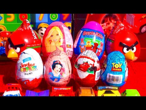 Yay! Unwrapping 8 surprise eggs from Angry Birds, Kinder Surprise Ice Age 4, Toy Story, Barbie Princess, Disney Pixar Cars 2, Disney Princess & Beanie Kids t...