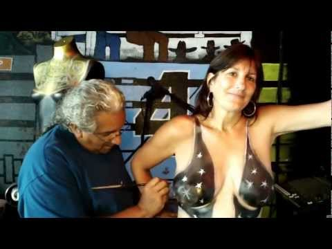 Fantasy Fest Body Painting @ The X Radio at Cowboy Bills Key West