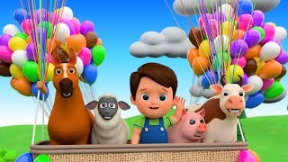 Learn Farm Animals On Giant Balloons For Kids - Animals Feeding | Baa Baa Black Sheep Nursery Rhymes