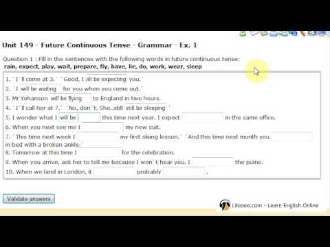 Litesee.com (Learn English Online): Unit 149 Future continuous tense exercise 1