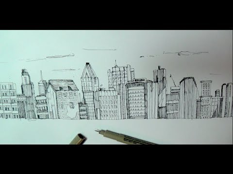 Building Scenery Drawing How to Draw a Panoramic City
